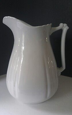 """Vintage Royal Stone China by Wedgwood & Co. England Tall White Pitcher 12"""""""