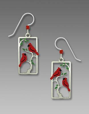 Sienna Sky Earrings Two Red Cardinals on a Branch Handmade in USA