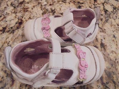 Toddler girls Stride Rite shoes sandals white leather size 4 wide exclnt condtn!