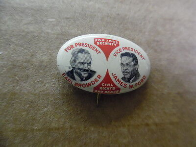 1940 Earl Browder James Ford Communist Party President Campaign Pinback Button