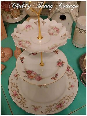 Shabby romantic cottage chic 3 tiered serving plate roses pink