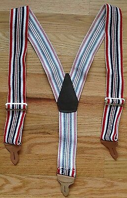Vintage Levi's USA Striped Red, White & Blue Wide Suspenders Leather/Button GUC