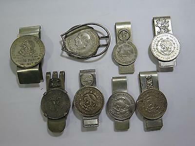 Authentic Mexico Coin Jewelry Money Clips Pesos Mixed Old Antique Collection Lot
