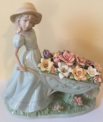 "Lladro Style like ""Girl with Wheelbarrow of Flowers"" Exquisite Rare Stunning!"