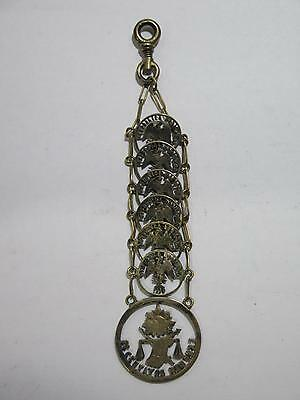 Authentic Mexico Coins Cut Out Jewelry Centavos Chain Hanger Old Collection Lot