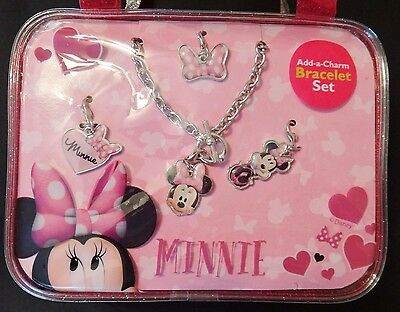 DISNEY JUNIOR MINNIE MOUSE CHARM BRACELET with PINK PURSE ages 3+ NWT