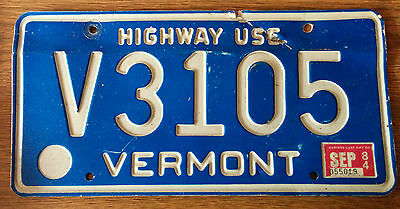 LICENCE PLATE vintage Vermont Highway Use 1984 sticker V3105  old license