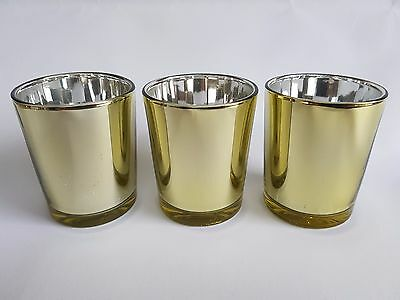 12 GOLD Votive Tealight Candle Holder BULK BUY 12 PACK Parties Weddings Events