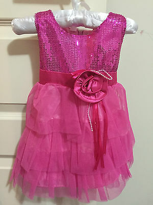 Toddler Girl Glamorous pink sequins layered party dress size 2 formal occasion
