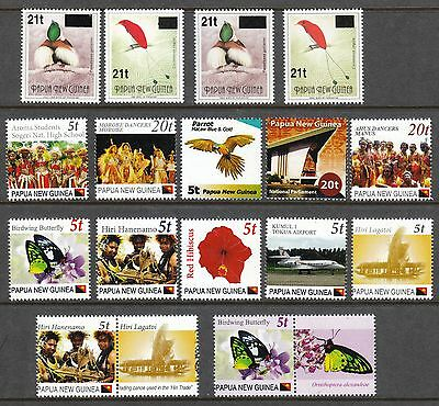 Special Offer - Papua New Guinea 2015 Uprated Provisionals Plus 2Nd Print Birds
