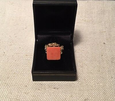 Chaumet Paris Vintage French 18k Gold & Coral Brutalist Ring Size 4.5