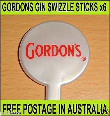 GORDON GIN ~ 6 x NEW SWIZZLE STICKS ~ FREE POST IN AUSTRALIA ~ $5 POST WORLDWIDE