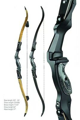 "205 FPS Big Rock Billet Machined Riser Recurve Bow RH 45Lb 62""Bamboo Glass Limb"
