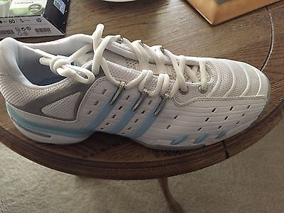 Adidas Barricade VJ Tennis Shoes Womens White/blue Court Trainers Sneakers