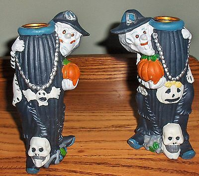 "Pair 6-1/2"" Tall Danson Halloween Witch Ceramic Taper Candle Holders"