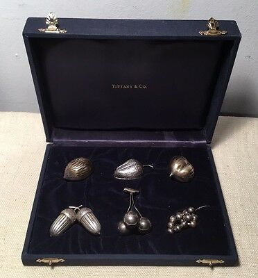Tiffany & Co. Vintage English Sterling Silver Figural Cased 6 Place Card Holders