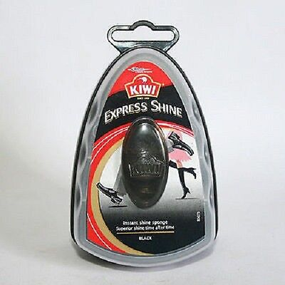 New KIWI Express Shine Instant Shine Sponge 7ml Black Shoe Polish Wax Leather