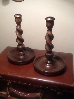 pair of vintage wooden candlesticks