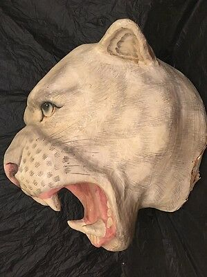 Paper Mache Lion Lioness Head Bust Wall Mount Hanging Lifesize Sculpture Mask
