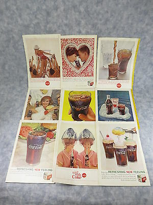 "60's National Geographic COCA-COLA Life Guard/Glass/Bottle 10"" Cover Ad Lot of 9"