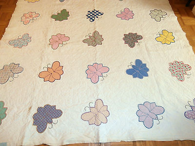"Antique Vintage Butterfly hand appliqued quilt 76"" x 76"" Beautiful quilting!"
