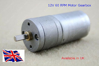 Reversable Motor & GBox 12V DC 60 RPM - Hi Torque - Available in UK