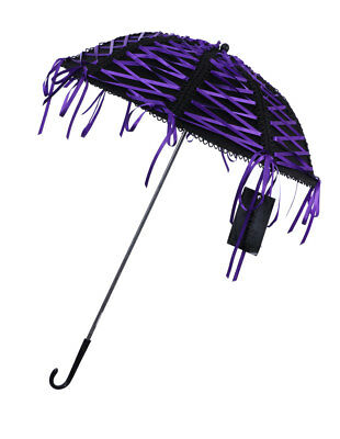 Parasol black with shoelaces knots violet gothic rock Phaze - Golden Steampunk