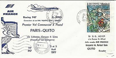 PREMIER VOL COMMERCIAL et POSTAL PARIS QUITO BOEING 747 AIR FRANCE  AVRIL 1977