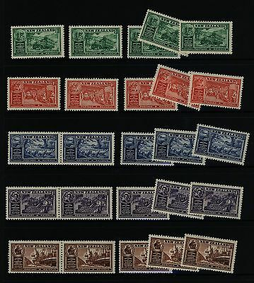 New Zealand stamps - 1936 Chamber of Commerce - 5 sets - MNH
