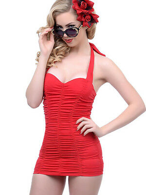 Swimsuit red 1pc pleated vintage pin-up