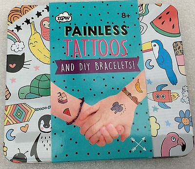 *brand New* Npw Painless Tempory Transfer Tattoos And Diy Bracelets Gift Set 8+
