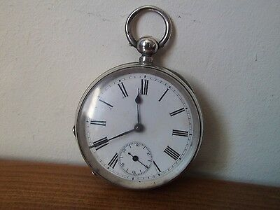 Solid Silver Cased Swiss Pocket Watch, Key wound, Works for 10 mins. 50mm 104g.