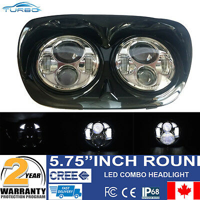 Harley 04-13 Road Glide HeadLamp Chrome Dual Daymaker LED Headlight Assembly Set