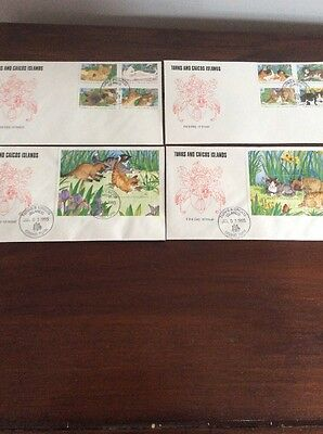 Turks and Caicos First Day Stamp Covers - Cats 1995