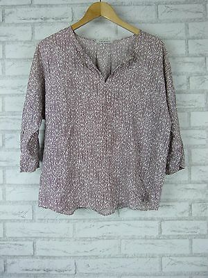 TRENERY BY COUNTRY ROAD Top/Blouse  Sz 10, 12, 14? Maroon, White Print
