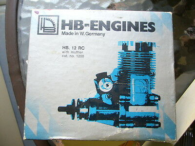 ** Hb Engines **.12 ** 2-Cycle R/c Model Airplane Engine ** New In Box **