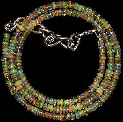 40 Crt 1 Strand 3 mm to 4 mm 16.6 Natural Ethiopian Opal Gemstone Beads 0035