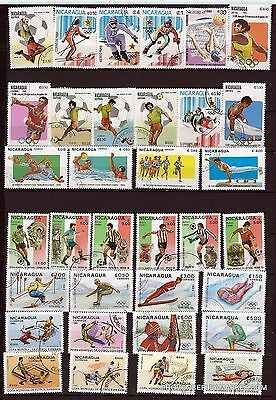 11T4 NICARAGUA set of 34 stamps mint.Sports winter and Summer