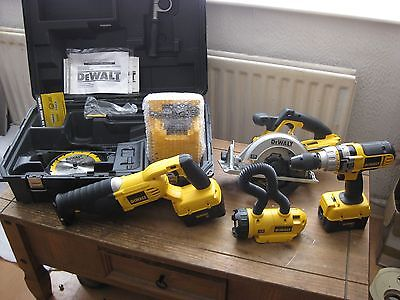 NEW DeWALT CORDLESS COMBO POWER TOOL KIT - DRILL and SAWS ETC. FREE POST