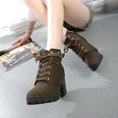 Womens 2016 High Heel Lace Up Ankle Boots Ladies Platform Winter Warm Shoes S1