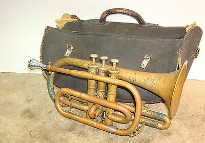 """Bruno"" New York, Raw Brass Cornet  W/Getzen MP, & Orig.  Stippled Leather Case"