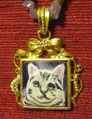Cat - black stripes on white shorthair - hand painted on square Amethyst pendant