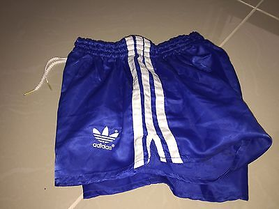 Amazing Adidas Vintage Condition Shiny Satin Sprinter Shorts Blue XS D4