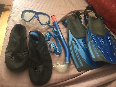 childrens junior snorkelling set flippers, mask snorkel, shoes and goggles