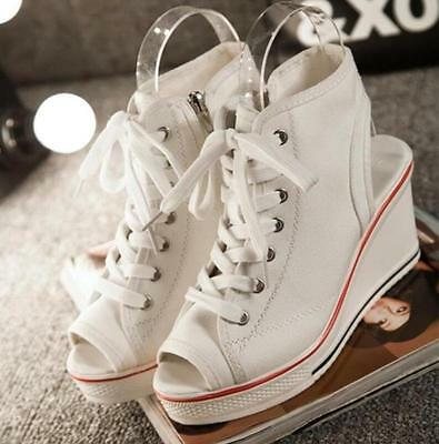 Women's Girls Open Toe Slingbacks Lace Up Canvas Wedge Sneakers Shoes White US 8
