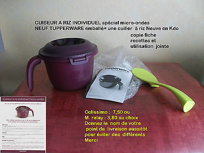 CUISEUR  A RIZ INDIVIDUEL NEUF  spcial  micro ondes NEUF TUPPERWARE + CUILL RIZ