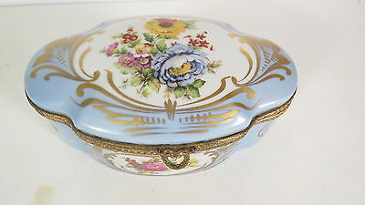 French Limoge Porcelain Dresser Box  Hand painted floral decoration