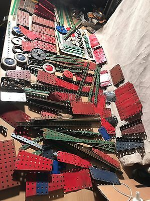Job Lot of Vintage Meccano loads of parts, sections, wheels etc, used