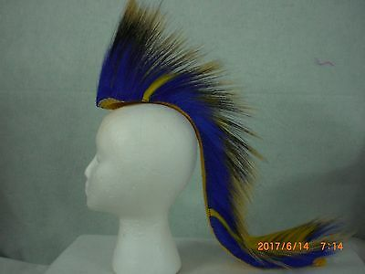 Porcupine Roach, Royal Blue & Yellow Stripe, 22 inch in & out, Yellow Yarn Base