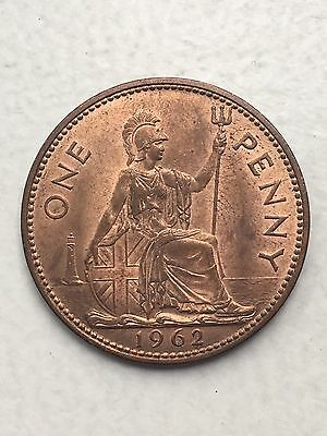 1962  COPPER ONE PENNY 1P Great Britain - Queen Elizabeth II - QE2 - UK Coin Unc